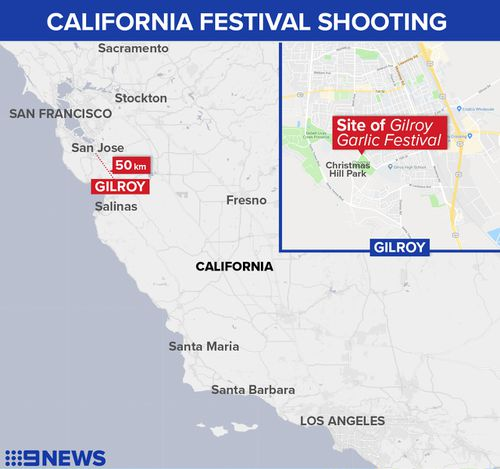 Map showing location of a shooting at the annual Gilroy Garlic Festival in California.