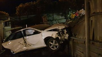 A speeding car ploughed into Brisbane homes last night.