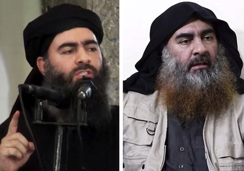 Islamic State leader Abu Bakr al-Baghdadi (left) in his first public appearance in Mosul, Iraq on July 5, 2014. Nearly five years later, al-Baghdadi (right) is interviewed by his group's Al-Furqan media outlet.
