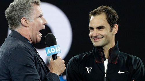 Will Ferrell's awkward interview with Federer after Aus Open win.