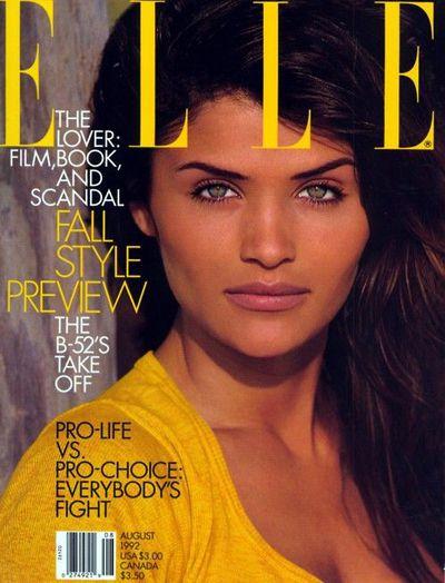 Helena Christensen on the cover of<em> Elle</em> Magazine, August 1992