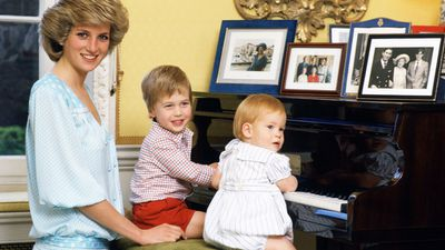 Prince William and Prince Harry at home with Princess Diana in Kensington Palace, 1985