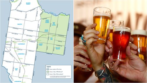 A number of suburbs in Melbourne's east are affected by the booze ban.