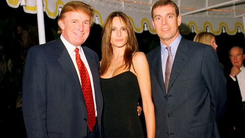 Donald Trump, his then-girlfriend Melania Knauss, and British Prince Andrew, Duke of York, at the Mar-a-Lago estate, Palm Beach, Florida, February 12, 2000.
