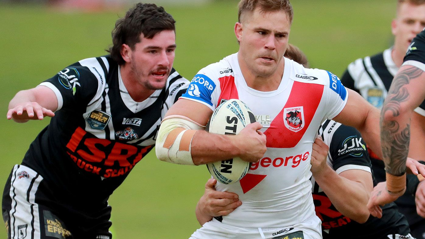 Jack de Belin runs the ball for St George Illawarra during the NSWRL round 12 match against the Western Suburbs Magpies at Lidcombe Oval on May 29, 2021.