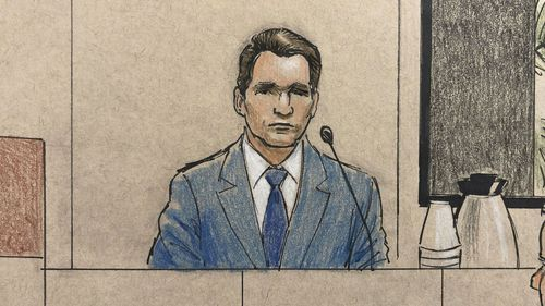 Courtroom sketch depicts prosecution witness Don Damond, Justine Ruszczyk Damond's fiance.
