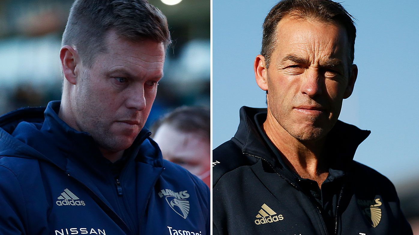 'It's a mess': Sam Mitchell and Alastair Clarkson forced into 'mediation session' in Hawks succession plan drama