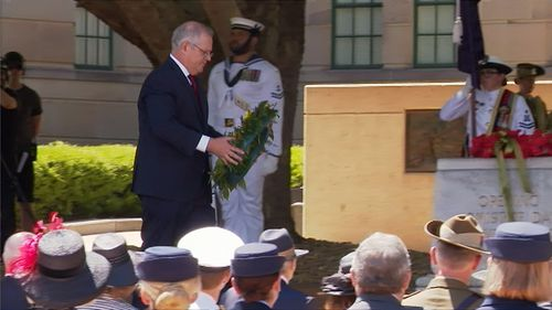 Prime Minister Scott Morrison lays a wreath at the 2020 Remembrance Day service in Canberra.