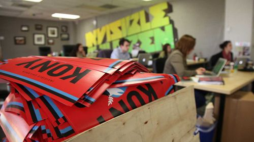 Signs in a box ahead of the Kony 2012 campaign. (AAP)