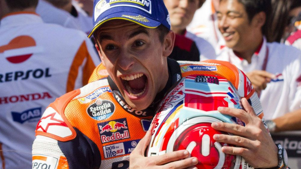 Marc Marquez has taken a huge step towards the world title with victory at Aragon. (AAP)