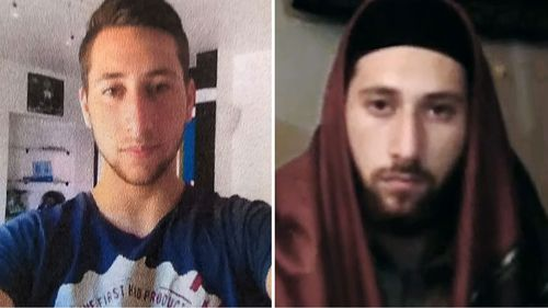 Picture released of Abdel Malik Petitjean (left). An image taken from a video released by an Islamic State media agency purportedly showing the teen jihadist, identifying himself as 'Ibn Omar'.