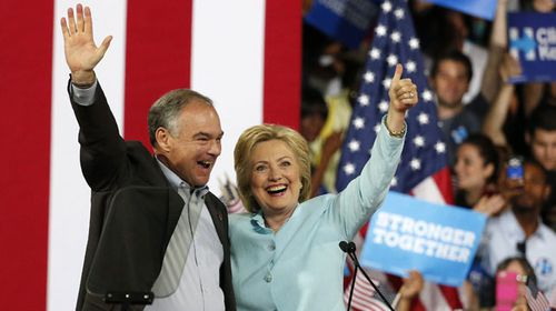 Clinton announced Kaine as her running mate. (AAP)
