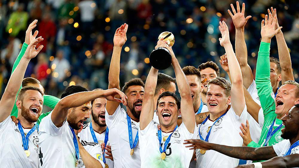 Lars Stindl of Germany lifts the trophy after Germany won the FIFA Confederations Cup 2017