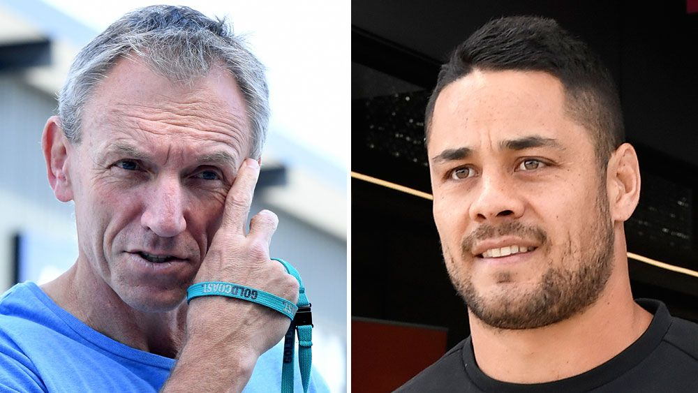 Gold Coast Titans coach Neil Henry and fullback Jarryd Hayne. (AAP)