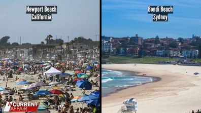 The social distancing reality during the coronavirus outbreak on a popular Californian beach compared to Bondi Beach in Sydney.
