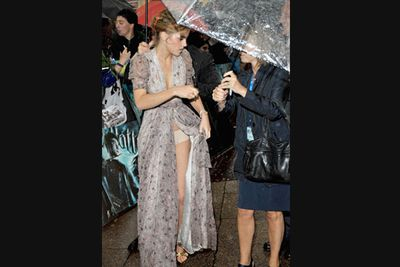 Emma's really lucked out on the red carpet, with accidental nipple and panty-flash disasters time and time again. In this pic even wet and windy weather at the 2009 <i>Harry Potter and the Half-Blood Prince</i> London premiere couldn't stop her beige knickers making an embarrassing appearance. A year earlier a photographer upskirt snapped her see-through panties while leaving a cab for her 18th birthday in 2008.