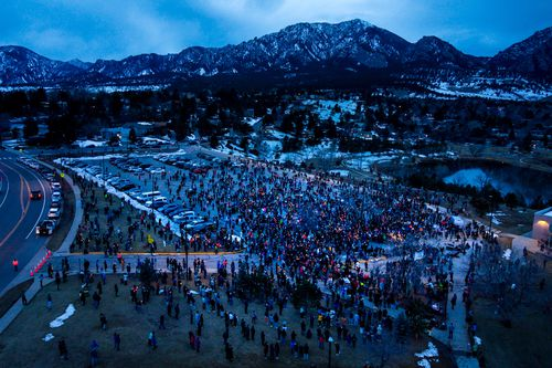 An aerial view from a drone underlines how police are able to monitor and surveil large crowds.