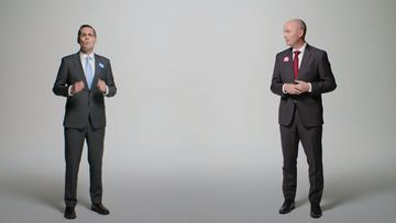 Chris Peterson and Spencer Cox in the positive political ad.