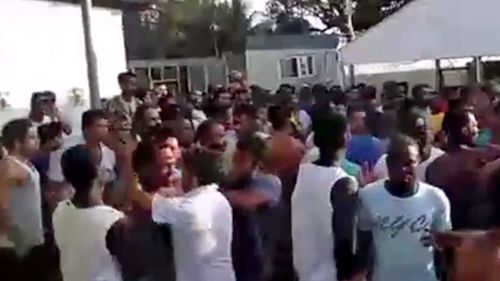 Refugees clashed with authorities. (9NEWS)