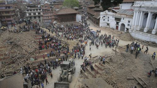 Hundreds of people are believed to have been inside Kathmandu's Darbar Square temples at the moment they were reduced to rubble. (AAP)