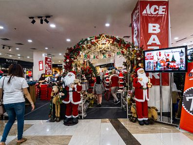 A stan of Christmas decorations at the shopping mall in Yogyakarta, Indonesia on December 24, 2019.