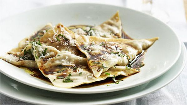 Beef cheek ravioli with mandarin mustard fruits