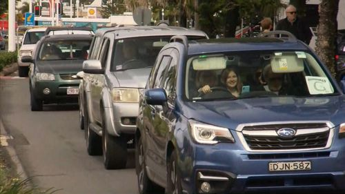 Traffic pile-up at Queensland border