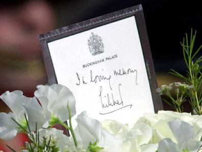 """A Message And Wreath For Her Mother From The Queen On The Coffin Of  The Queen Mother. The Message On The Card Reads """"in Loving Memory, Lilibet""""  - Signed By The Queen With The Affectionate Family Name She Uses.  (Photo by Tim Graham Picture Library/Getty Images)"""