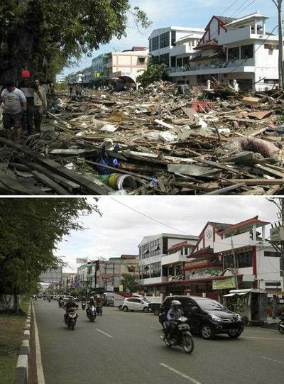 Tsunami survivors walking trough damage at Panglima Polem Street near Peunayoung neighbourhood on 26 December 2004 (top) and a view of the same area on 16 December 2014 (bottom), in Banda Aceh, Indonesia. (EPA)