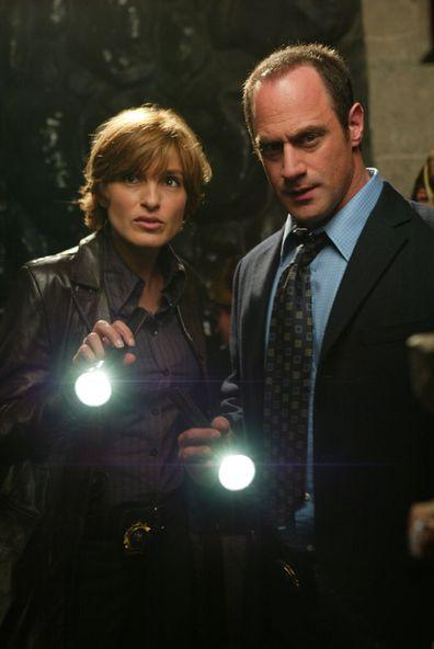Mariska Hargitay as Detective Olivia Benson, Christopher Meloni as Detective Elliot Stabler.