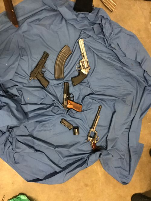 The guns were seized during the raid on Wednesday. Picture: NSW Police