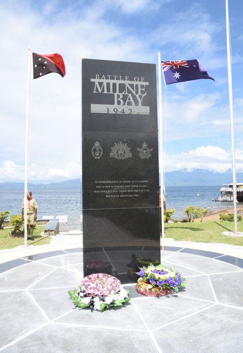 The Anzac memorial in Milne Bay. (Simon Bouda/9NEWS)