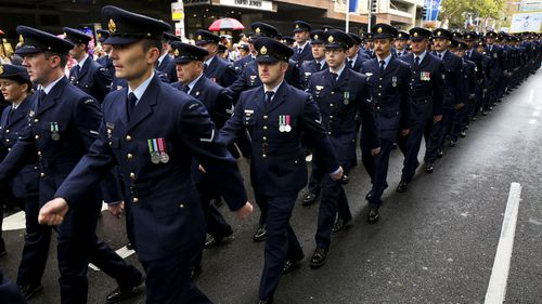 Forces march during an Anzac Day parade in Sydney.
