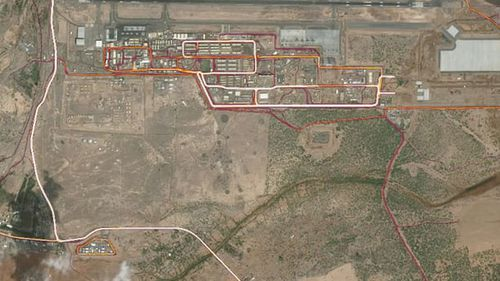 Camp Lemonnier (top right), and a suspected CIA base (bottom left) in the Africa nation of Djibouti (Strava heatmap)