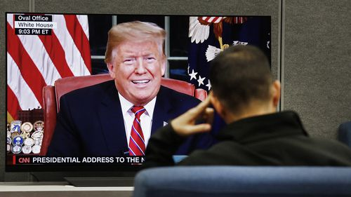 Donald Trump's address was beamed into homes and businesses around the US in prime-time.