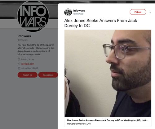 This image shows a post on Info Wars' Twitter account showing CNN journalist Oliver Darcy listening to right-wing conspiracy theorist Alex Jones