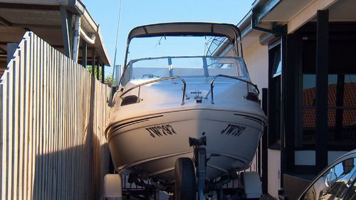 A large speedboat, which may not belong to Ms Sleiman, was seen parked in her driveway.