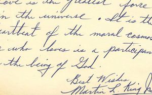 Martin Luther King Jr. explains meaning of love in rare handwritten note