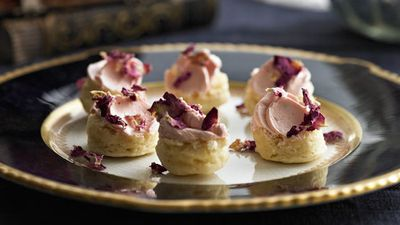 "Recipe: <a href=""https://kitchen.nine.com.au/2016/05/16/11/09/mini-white-chocolate-rose-scones"" target=""_top"">Mini white chocolate rose scones</a>"