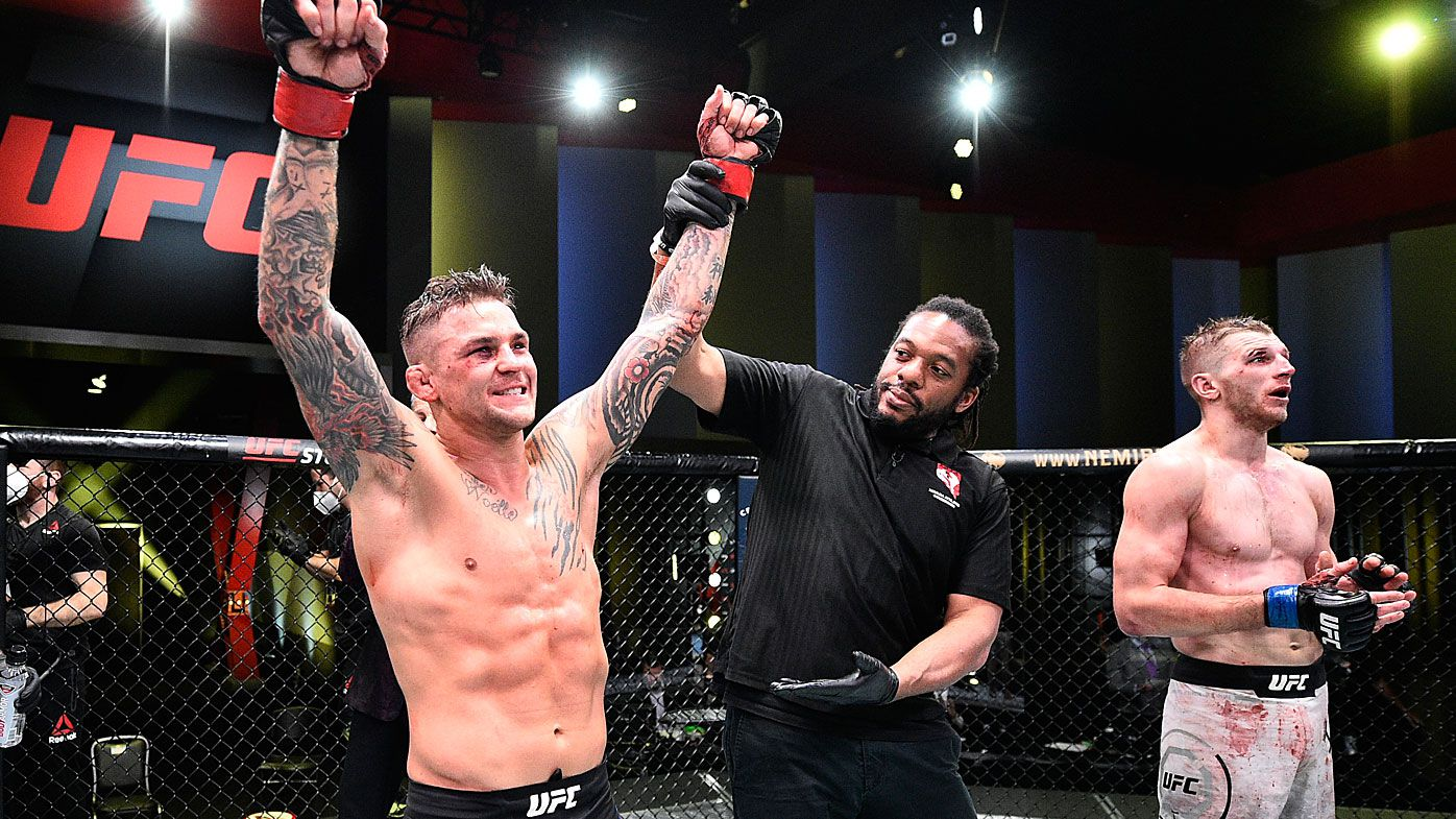 Image provided by UFC, Dustin Poirier celebrates after his victory over Dan Hooker of New Zealand