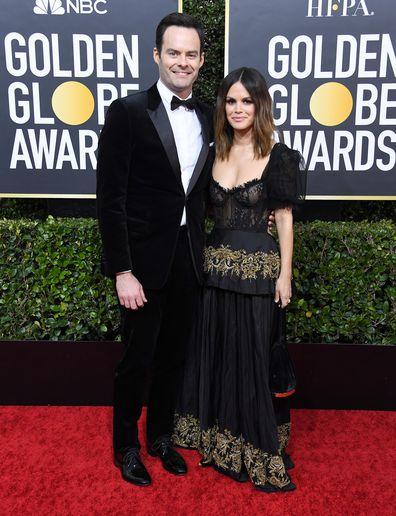 couples, celebrity, Bill Hader, Rachel Bilson, Golden Globes, red carpet, debut