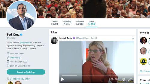 Ted Cruz likes porn video on Twitter