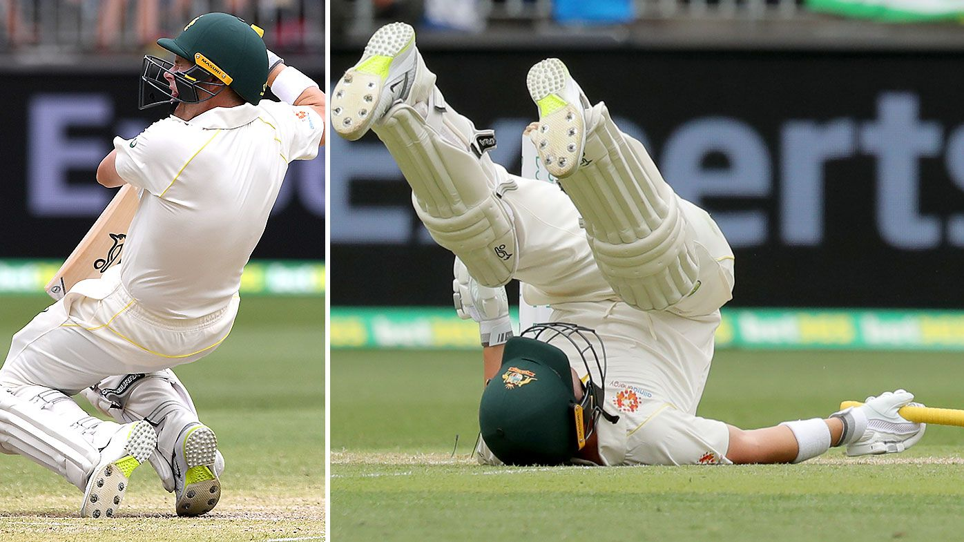 Australian Opener Marcus Harris sent crashing to the canvas after vicious bouncer