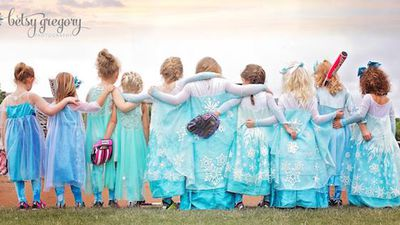 The images featured four and five-year-olds in princess dresses inspired by the Disney film Frozen, and show the girls putting on their meanest faces. (Betsy Gregory Photography)