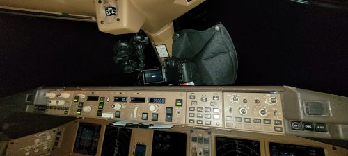 Inside the cockpit of Mr Rohner's Swiss Air flight, between Zurich and Bangkok.