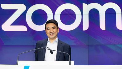 Zoom CEO Eric Yuan attends the opening bell at Nasdaq as his company holds its IPO in New York in April 2019