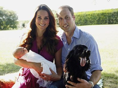 Duke and Duchess of Cambridge with Lupo and Prince George