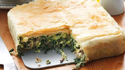 "Recipe: <a href=""http://kitchen.nine.com.au/2016/05/16/10/49/lamb-spanakopita"" target=""_top"">Lamb spanakopita</a>"