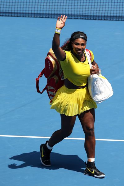 Serena Williams was impossible to miss in this popping canary-yellow getup which she beat Maria Sharapova in during the 2016 Australian Open at Melbourne Park on January 26.