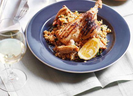 Spatchcock with cracked wheat pilaf